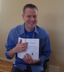 Dylan Hunter with my book