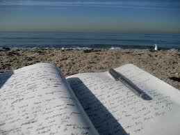 writing on beach