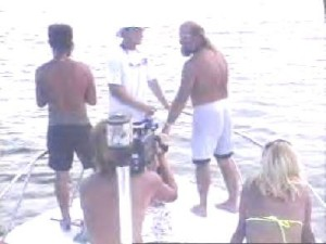 Wayne Stinnett (R), in Marathon, Florida, during his dive-tour days.