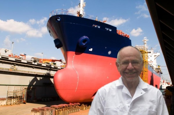 Author RE McDermott with one of his ships in dry dock