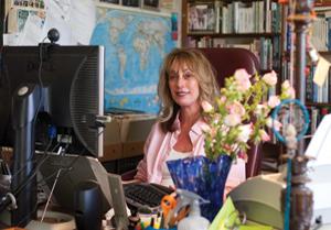 At work in her former office in Santa Barbara